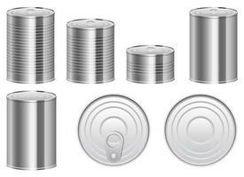 Blechdose Vektor Design Illustration Set isoliert auf weißem Hintergrund