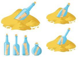 Bildlaufnachricht im Flaschenvektor-Entwurfsillustrationssatz lokalisiert auf weißem Hintergrund vektor