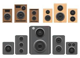 Audio-Lautsprecher-Vektor-Design-Illustrationssatz lokalisiert auf weißem Hintergrund vektor