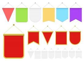 realistisk vimpel vektor design illustration uppsättning isolerad på vit bakgrund