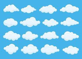 uppsättning vita moln vektor design illustration uppsättning isolerad på blå himmel