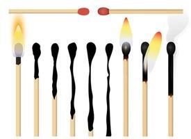 Match brennenden Prozess Vektor Design Illustration Set isoliert auf weißem Hintergrund
