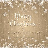 Jul och nyår text på träbakgrund vektor