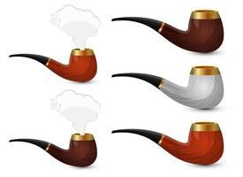 stilvolle Rauchpfeifenvektor-Entwurfsillustrationssatz lokalisiert auf weißem Hintergrund vektor