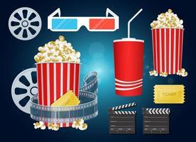 Filmzeitsatzvektordesign-Illustrationssatz lokalisiert auf Hintergrund vektor