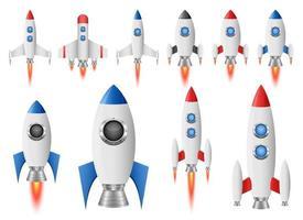 Raketenraumschiffvektorentwurfs-Illustrationssatz lokalisiert auf weißem Hintergrund vektor