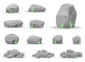 Boulder Steine Vektor Design Illustration Set isoliert auf weißem Hintergrund. Spiel-Assets