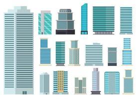 Wolkenkratzerstadtgebäudevektorentwurfsillustration lokalisiert auf weißem Hintergrund vektor