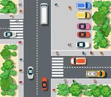 Draufsicht auf die Stadt. Draufsicht auf städtische Kreuzung mit Autos und Häusern. vektor