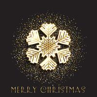 Jul snöflinga på en guldglitter bakgrund vektor