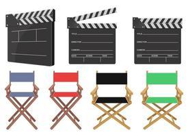 Filmregisseurstuhl und Schindelvektorentwurfsillustrationssatz lokalisiert auf weißem Hintergrund vektor