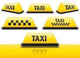 Taxi Zeichen Vektor Design Illustration Set isoliert auf weißem Hintergrund