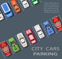 ovanifrån av en stadsparkering med en uppsättning olika bilar vektor