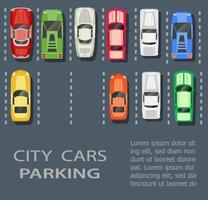 Draufsicht auf einen Stadtparkplatz mit einer Reihe von verschiedenen Autos vektor