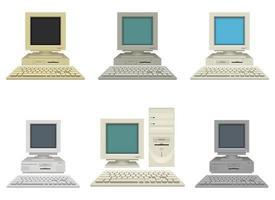 alter Weinlese-PC-Vektorentwurfsillustrationssatz lokalisiert auf weißem Hintergrund vektor