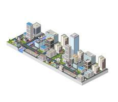 große isometrische Stadt mit Gebäuden, Büros und Wolkenkratzern vektor