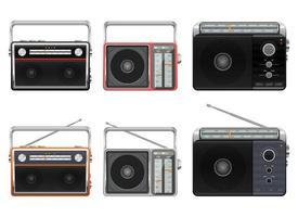 tragbare Vintage Radio Vektor Design Illustration Set isoliert auf weißem Hintergrund