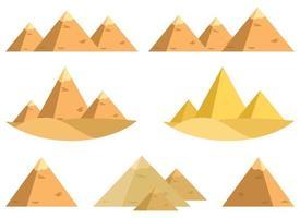ägyptischer Pyramidenvektorentwurfsillustrationssatz lokalisiert auf weißem Hintergrund vektor
