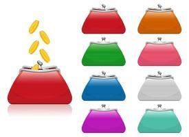 handväska för myntvektordesignillustration isolerad på vit bakgrund vektor