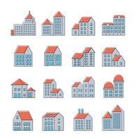 Vektorsatz linearer städtischer Gebäudeikonen und Illustrationen von Häusern