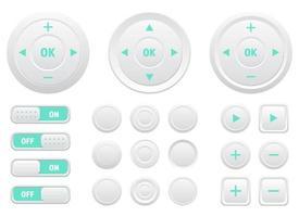 Multimedia-Steuerknöpfe Vektor-Design-Illustrationssatz isoliert auf weißem Hintergrund vektor