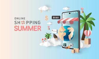 Papierkunst Online-Shopping auf dem Smartphone und neue Kaufverkaufsförderung Sommer Hintergrund für Banner Markt E-Commerce. vektor