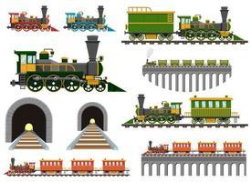 Weinlesezug auf Eisenbahnvektorentwurfsillustrationssatz lokalisiert auf weißem Hintergrund vektor