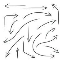 handritad svart pil. uppsättning element för grafisk design. vektor illustration