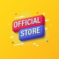 officiell butik, online marknadsföring banner mall design. vektor illustration