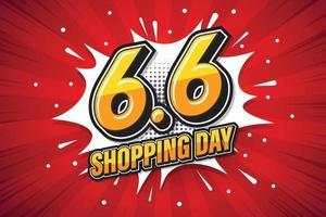 6.6 shoppingdag typsnitt uttryck popkonst komisk pratbubbla. vektor illustration