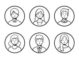 Gekritzelsatz von Avatar-Büroangestellten, fröhlichen Menschen, handgezeichneter Ikonenstil, Charakterdesign, Vektorillustration. vektor
