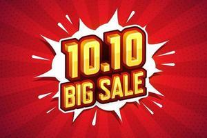 10.10 stor försäljning teckensnitt uttryck popkonst komisk pratbubbla. vektor illustration
