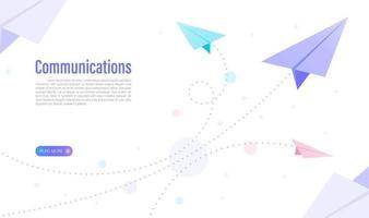 Kommunikation des Geschäfts mit Papierflugzeugkonzept. Web-Design. Vektorillustration