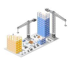Industriebau-Isometrie in den im Bau befindlichen Wolkenkratzern der Großstadt, Häuser und Gebäude