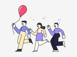 glada leende barn som leker springande luftballong, vänskapskoncept, handritad stilvektorillustration. vektor