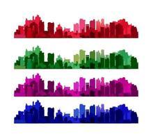 silhuett av ett stadslandskap med skyskrapor och stadsbyggnader vektor