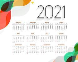 Druckneues Jahr bunter Kalender 2021 Vektor-Design bearbeitbar veränderbare EPS 10 vektor