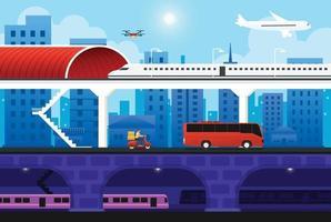 Verkehrsverkehr Stadtlandschaft mit Flugzeug, Bus, U-Bahn, Zug, Drohne. Vektorillustration