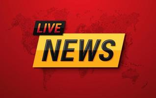 Live-Nachrichten auf Weltkarte Hintergrund. Elementdesign für TV und digitale Inhalte. Vektorillustration vektor
