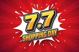 7,7 shoppingdag typsnitt uttryck popkonst komisk pratbubbla. vektor illustration