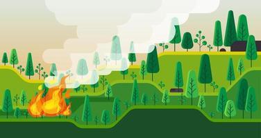 Buschfeuer brennen. Waldlandschaft. Vektorillustration vektor