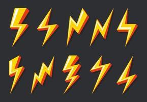 thunder bolt set collection. blixtbelysning, ikonen tecken på elkraft. vektor illustration