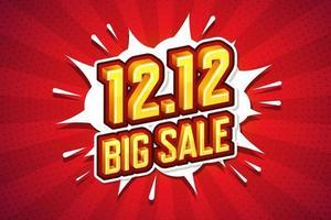 12.12 stor försäljning typsnitt uttryck popkonst komisk pratbubbla. vektor illustration