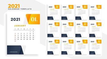 bunter Kalender des neuen Jahres 2021 Vektordesign bearbeitbare veränderbare EPS 10 vektor
