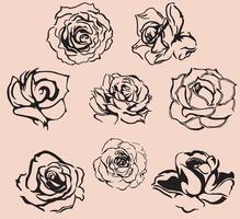 eine Silhouette von Rosen für Valentinstagskarte und Hintergrund. Vintage-Stil. vektor