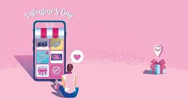 Alla hjärtans dag online shoppingkoncept, webbplats eller mobilapplikation, marknadsföring och digital marknadsföring. marknadsföringssmartphone, snabb leverans. vektor platt design illustration 24-timmars shopping