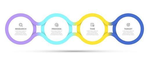 Vektor-Zeitlinienvorlage für Infografik. Geschäftskonzept mit 4 Optionen, Schritten, Symbolen. kreative Kreisgestaltungselemente.