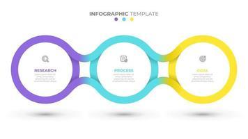 Vektor-Zeitlinienvorlage für Infografik. Geschäftskonzept mit 3 Optionen, Schritten, Symbolen. kreative Kreisgestaltungselemente.