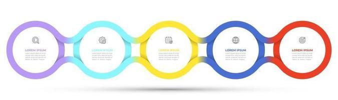 Vektor-Zeitlinienvorlage für Infografik. Geschäftskonzept mit 5 Optionen, Schritten, Symbolen. kreative Kreisgestaltungselemente.