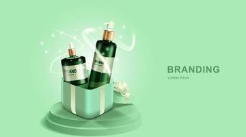 Kosmetik- oder Hautpflegeprodukte. Flaschenmodell und Geschenkbox mit grünem Hintergrund. Vektorillustration. vektor